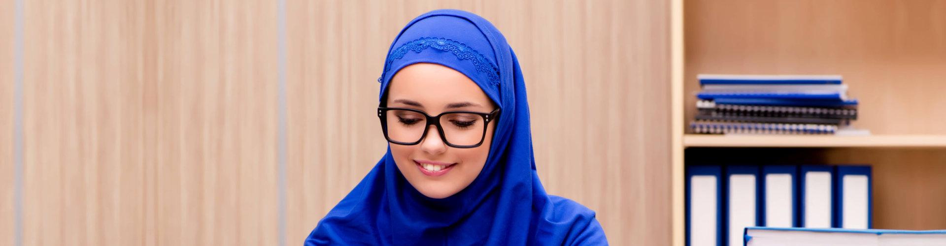 female muslim wearing eye glasses